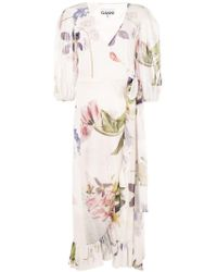 Ganni - Floral Print Wrap Dress - Lyst