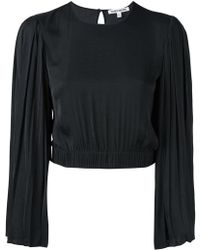 Elizabeth and James - Pleated Sleeve Cropped Blouse - Lyst