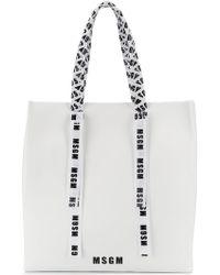 MSGM - Branded Ribbon Shopper Tote - Lyst