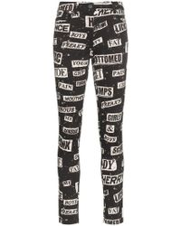Moschino - High Waisted Printed Cotton Blend Skinny Jeans - Lyst