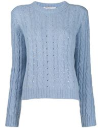 51ed2071c4187f Philosophy Di Lorenzo Serafini Bow Cable Knit Sweater in Natural - Lyst