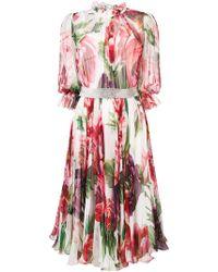 d60bb3bbd29 Dolce   Gabbana - Floral Flared Midi Dress - Lyst