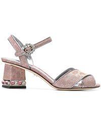 Dolce & Gabbana - Cross Front Jewelled Heel Sandal - Lyst