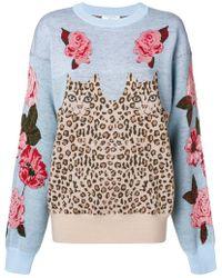 Vivetta - Flower And Leopard Knit Sweater - Lyst