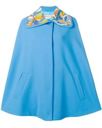 Emilio Pucci - Floral Embroidered Blue Wool Cape - Lyst