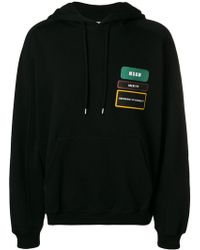 MSGM - Badge patch hoodie - Lyst