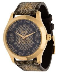 e7d4e7a6cc4 Gucci  g-timeless  Watch With Motif Of Moth in Brown - Lyst