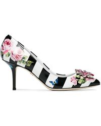 Dolce & Gabbana | Floral Print Striped Pumps 60 | Lyst