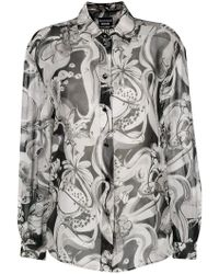 Boutique Moschino - Printed Button Blouse - Lyst