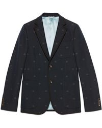 3f79035be Gucci Jacquard Knit Wool Waistcoat in Blue for Men - Lyst