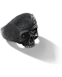 David Yurman - Waves Diamond Skull Ring - Lyst