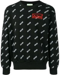 Aries - Logo Embroidered Sweatshirt - Lyst