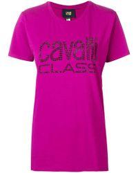 Class Roberto Cavalli - Studded Logo T-shirt - Lyst