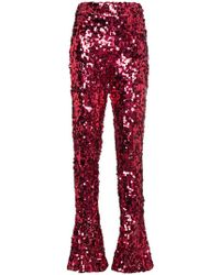 Halpern - High Waisted Sequin Flared Trousers - Lyst