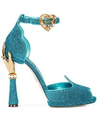 0d0dc891565 Dolce   Gabbana - Sandal In Soft Lurex And Mordoré Nappa Leather With  Sculpted Heel -