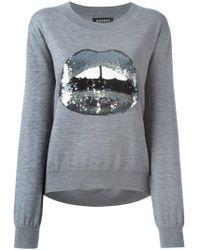 Markus Lupfer - Sequinned Lips Appliqué Sweater - Lyst