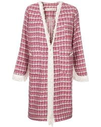 Shirtaporter - Plaid Fringed Coat - Lyst