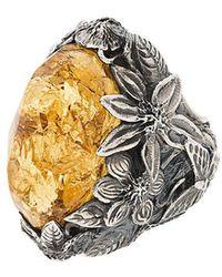 Lyly Erlandsson Yellow Winter Leaf Engraved Ring - Metallic