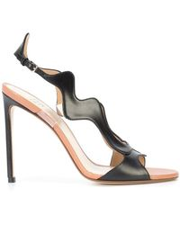 Wavy slingback leather sandals Francesco Russo
