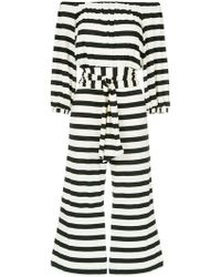 Andrea Marques - Off The Shoulder Striped Jumpsuit - Lyst