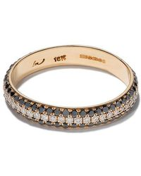 Lizzie Mandler - 18kt Yellow Gold Three Row Pave Cigar Diamond Band - Lyst