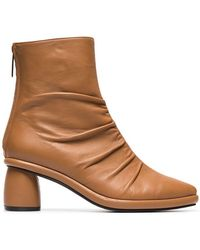 Reike Nen - Camel Shirring 80 Leather Ankle Boots - Lyst