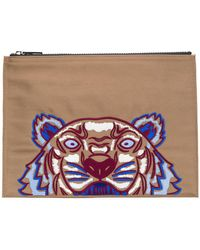 KENZO - Clutch con tigre bordado - Lyst