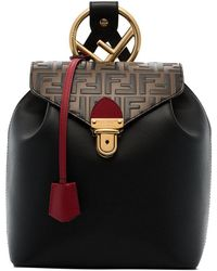 Fendi - Black And Brown Logo Leather Backpack - Lyst