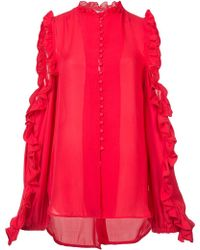 Ronny Kobo | Ruffled Cut-out Blouse | Lyst