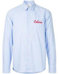 Calvin Klein - Logo Embroidered Gingham Shirt - Lyst