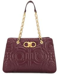 Ferragamo - Logo Quilted Tote - Lyst