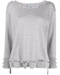 Blumarine - Pearl Embellished Fine-knit Sweater - Lyst