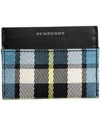 Burberry - Tartan Check And Leather Card Case - Lyst
