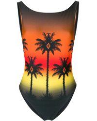 Marcelo Burlon - Palm Silhouette Printed One Piece Swimsuit - Lyst
