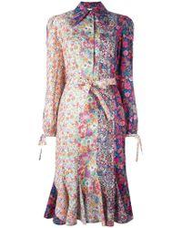 Olympia Le-Tan - Robe-chemise à fleurs - Lyst