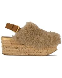 Chloé - Brown Camille 75 Shearling Flatform Sandals - Lyst