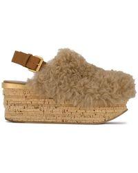 b7389b748e3 Chloé - Brown Camille 75 Shearling Flatform Sandals - Lyst