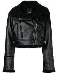 Pinko - Cropped Biker Jacket - Lyst