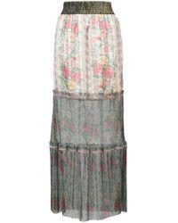 Anna Sui - Floral Tulle Hem Maxi Skirt - Lyst