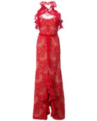 Marchesa notte - Ruffled Guipure Lace Gown - Lyst