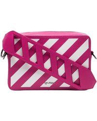 Off-White c/o Virgil Abloh Pink Leather Diagonal Striped Belt Bag