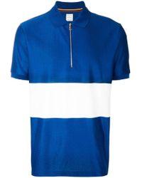 Paul Smith - Block-stripe Zipped Polo Shirt - Lyst