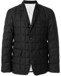 Thom Browne - Downfilled Classic Single Breasted Sport Coat With Grosgrain Tipping In Black Super 130's Wool Twill - Lyst