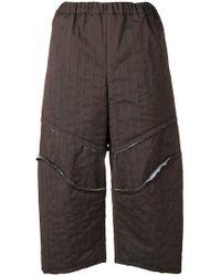 Comme des Garçons - Striped Slit Cropped Trousers - Lyst