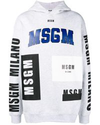 MSGM - Kapuzenpullover mit Logo-Print - Lyst