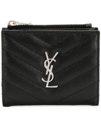 Saint Laurent - Grain De Poudre Zipped Card Case - Lyst