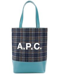 A.P.C. - Checked Logo Tote - Lyst