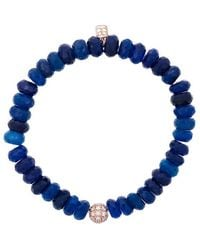 Sydney Evan - Blue Chalcedony Beaded Bracelet With Diamond Ball Charm - Lyst