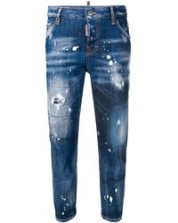 DSquared² Bleached Effect Cropped Jeans