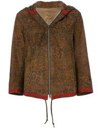 Sylvie Schimmel - Leopard Print Hooded Leather Jacket - Lyst